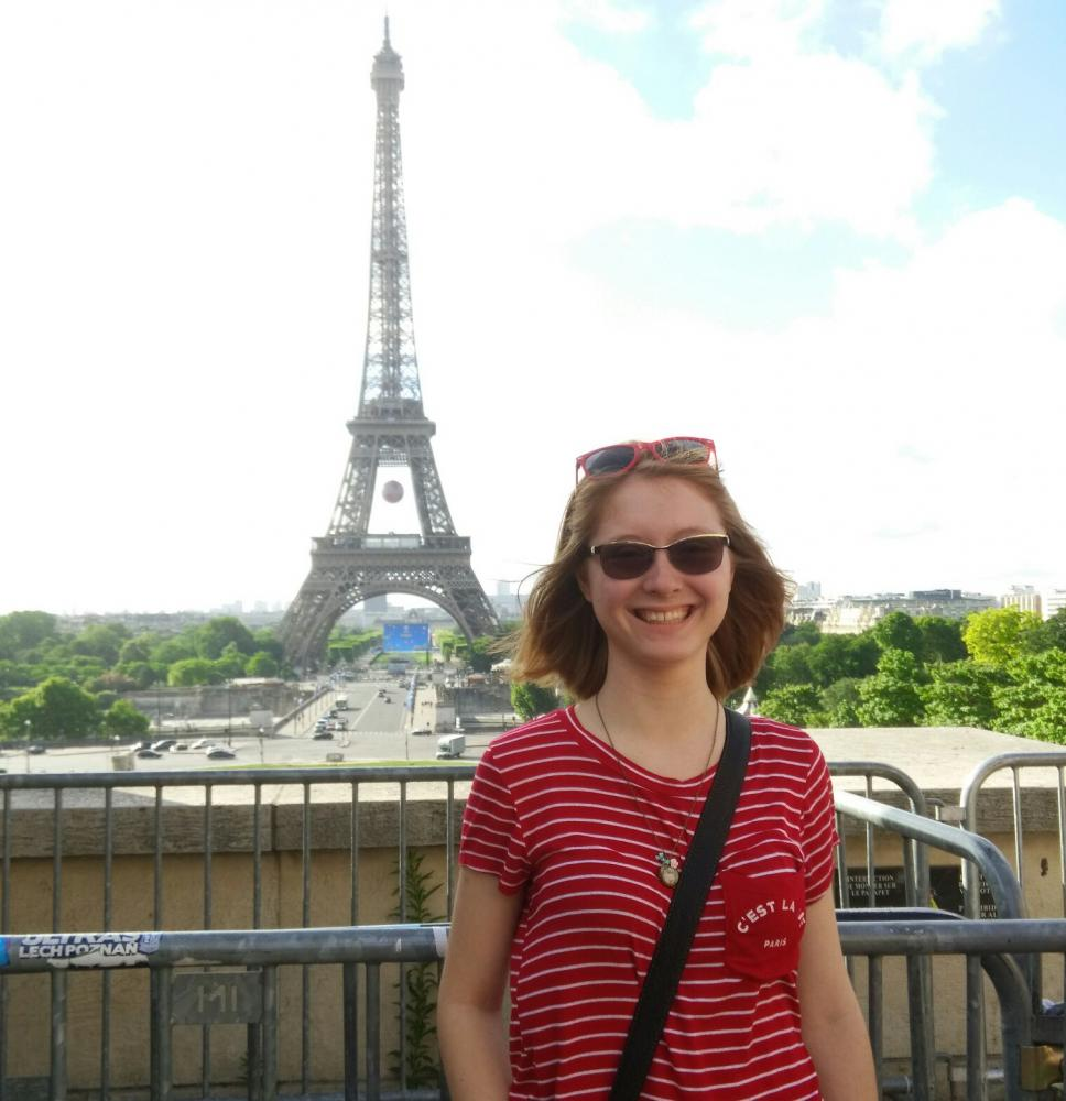 Amanda Coccia pictured in front of the Eiffel Tower in Paris, France.