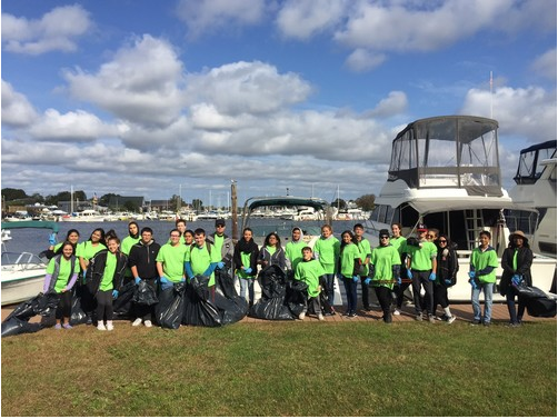 The Key Club, at one of its first events, the Patchogue River Clean Up