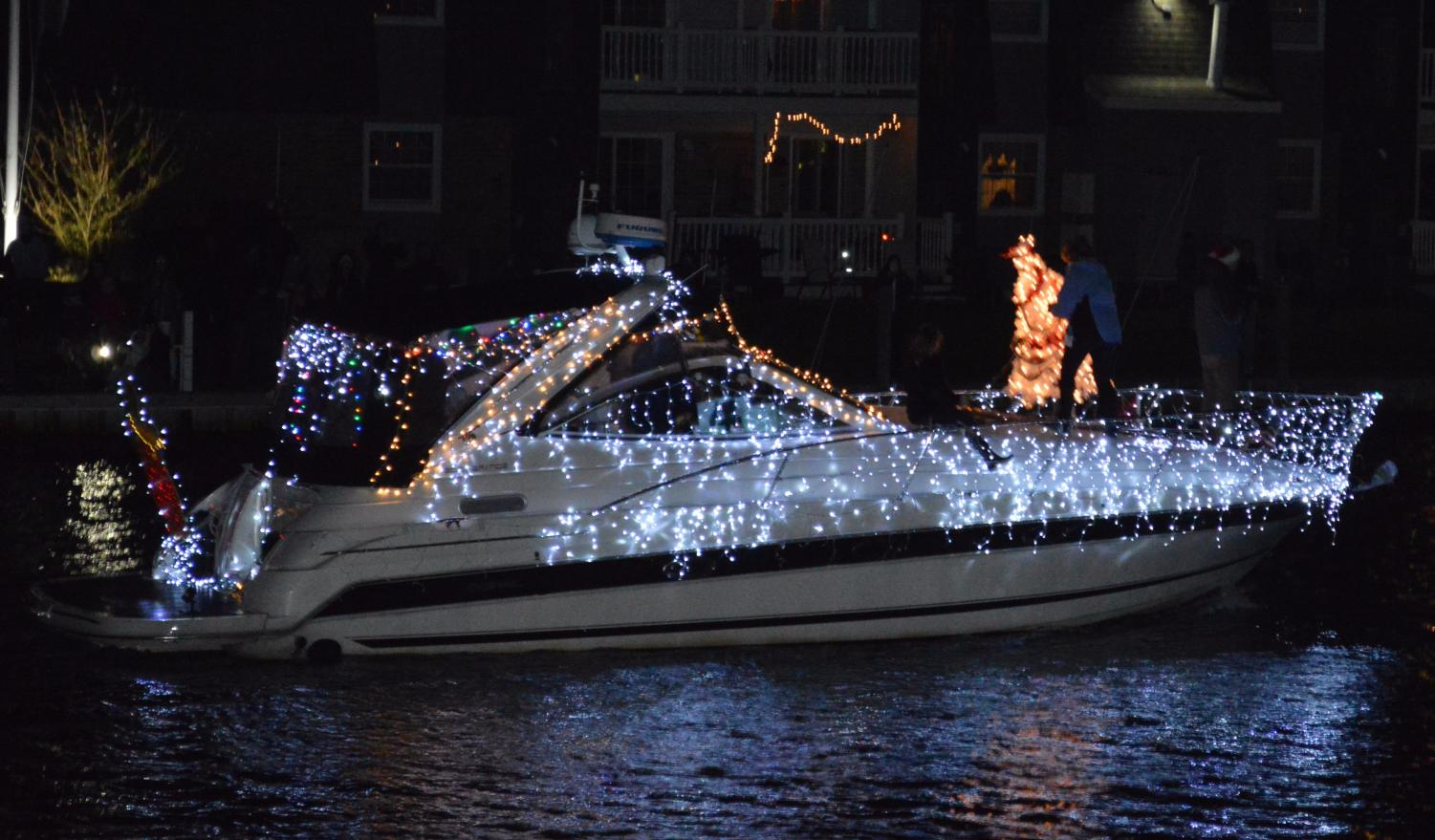 Boat decorated for the holidays