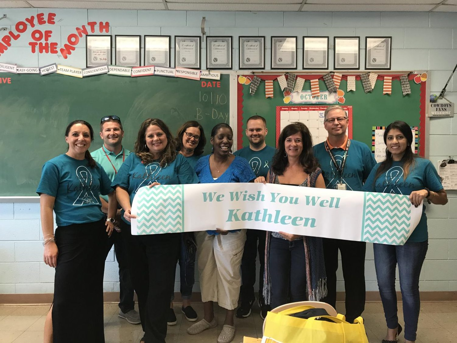 Teachers wear teal to support colleague who suffers from trigeminal neuralgia