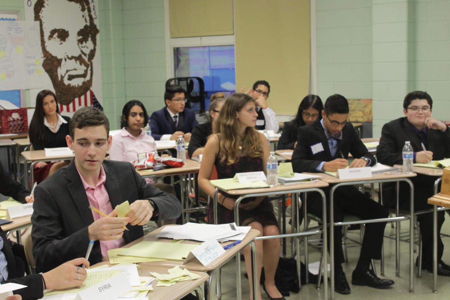 Students at Model UN Conference in Committee