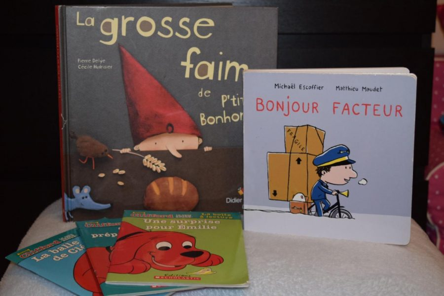 A+collection+of+French+children%E2%80%99s+books+featuring+gender-based+pronouns.+%0A