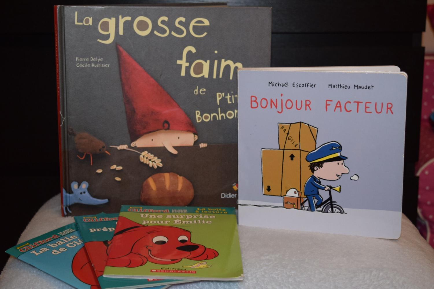 A collection of French children's books featuring gender-based pronouns.