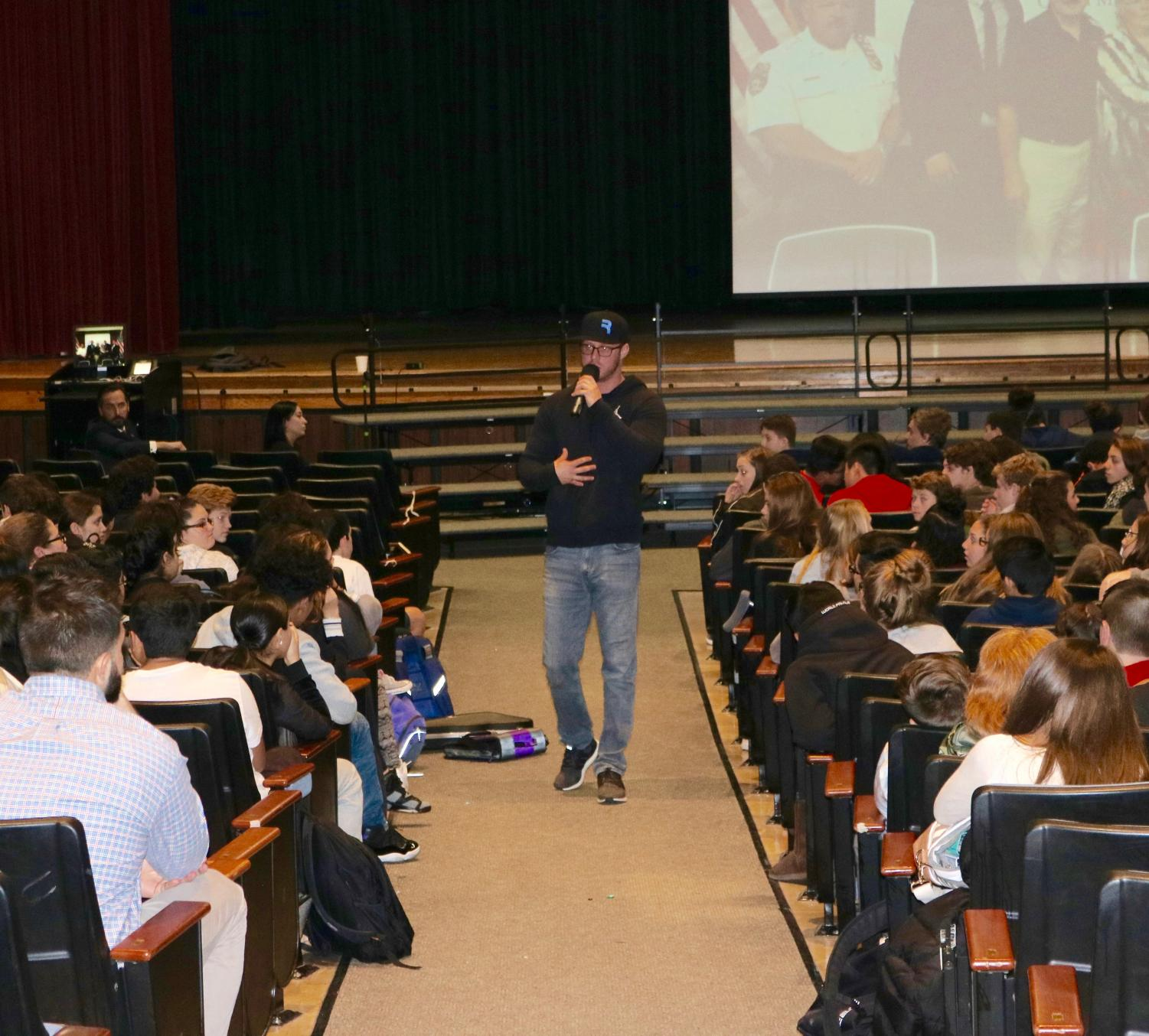 Kevin Alter spoke about addiction at an assembly for 9th and 10th graders this past Wednesday.