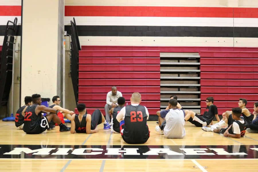 Coach+Dortonne+talks+to+the+team+before+practice.