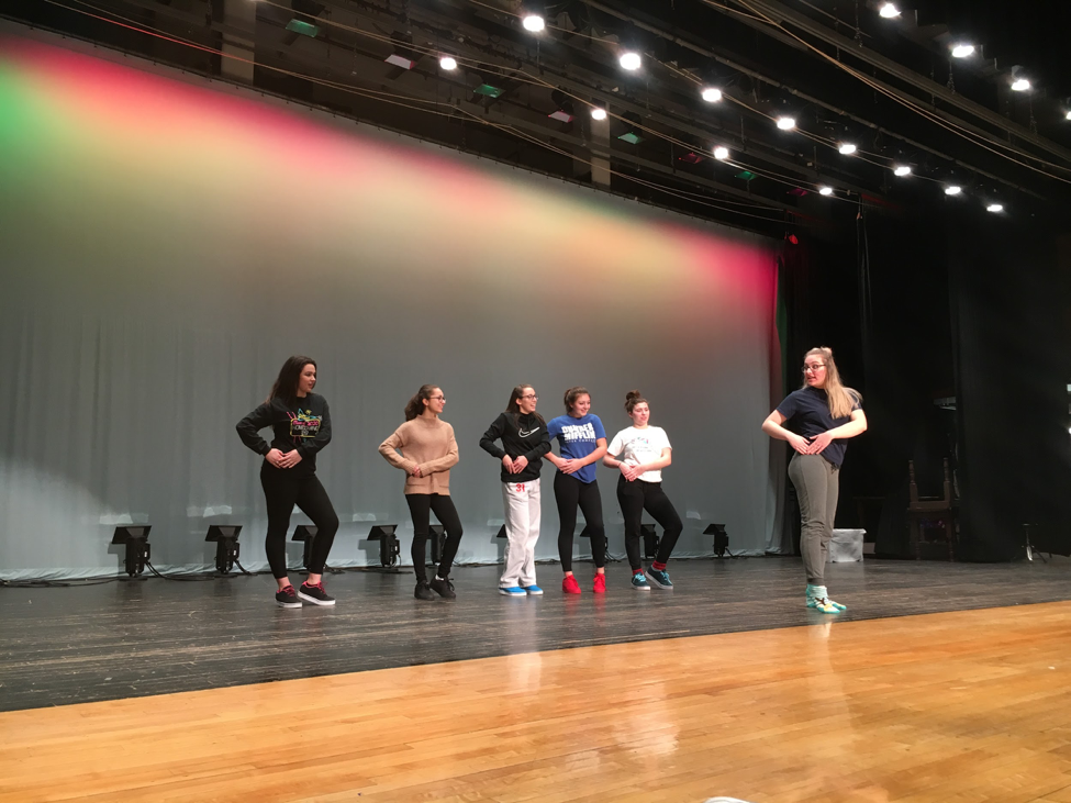 Students rehearse for school musical, The Little Mermaid.