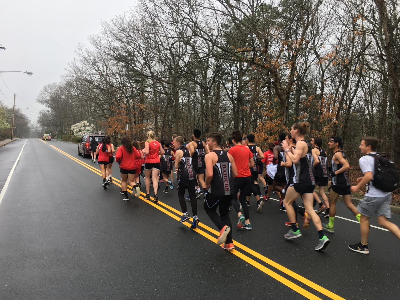 PMHS Track teams ran alongside Pat-Med alumnus Eva Casale as she raced 7 marathons in 7 days in honor of Lt. (SEAL) Michael P. Murphy.