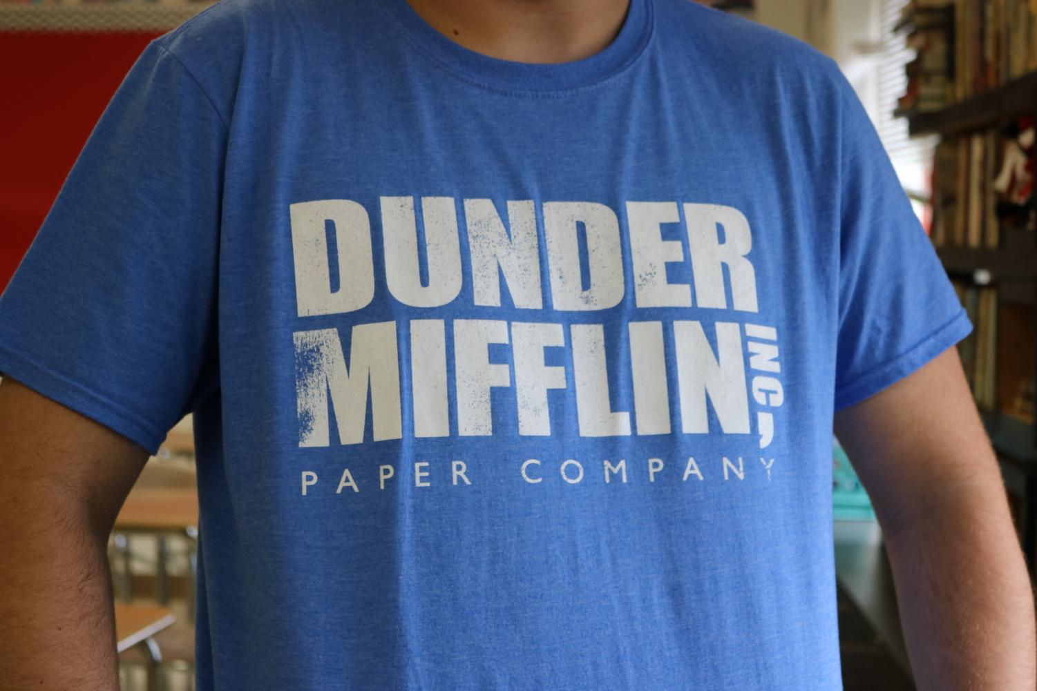 PMHS student sports a Dunder Mifflin t-shirt as an homage to the hit television series (no longer on air), The Office (U.S.).