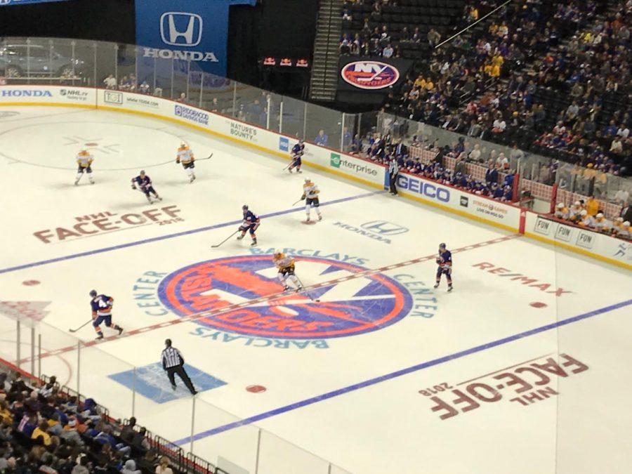 NY+Islanders+on+the+ice+at+Barclays+Stadium.