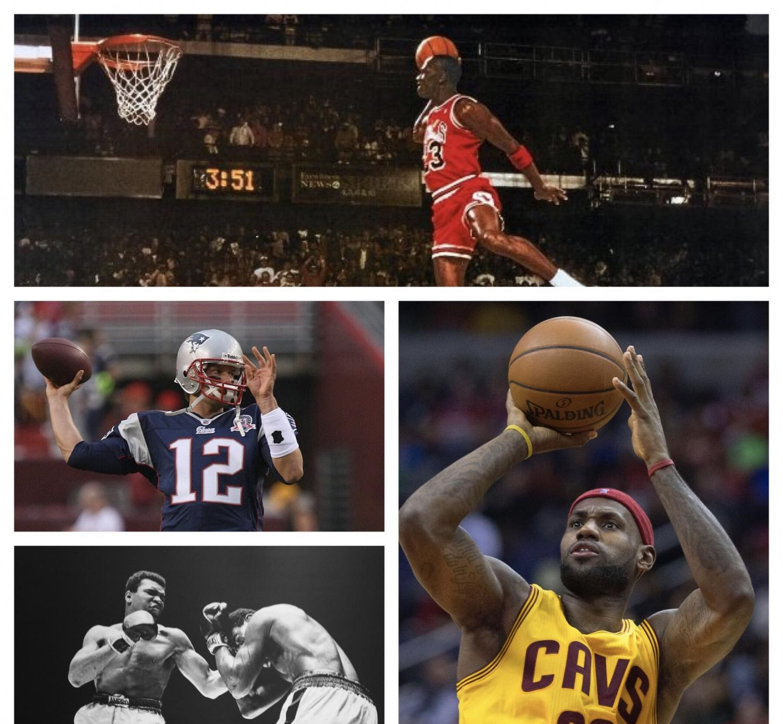 From top clockwise: Michael Jordan, LeBron James, Muhammed Ali, and Tom Brady.
