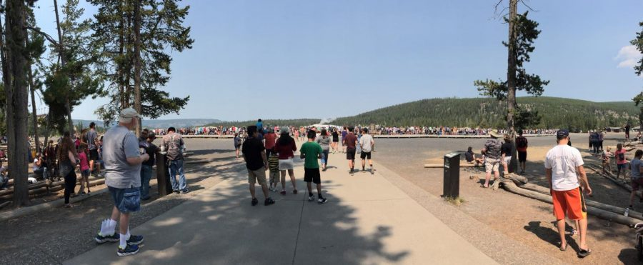 Hundreds+are+gathered+on+a+hot%2C+summer+day+to+witness+the+eruption+of+the+Old+Faithful+geyser+at+Yellowstone+National+Park.