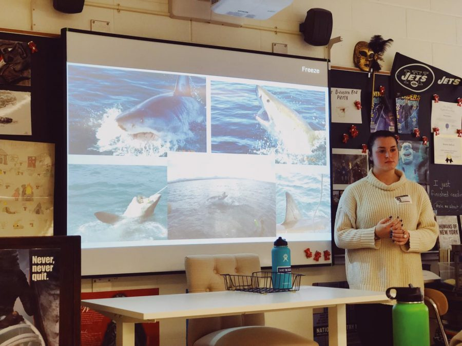 Shark+Week%21+Sharing+her+experience+from+a+Marine+life+internship+in+South+Africa%2C+Class+of+2017+graduate%2C+Isabel+Felice+speaks+to+the+journalism+class+about+plastics%2C+beach+clean-ups%2C+%26+environmentalism.