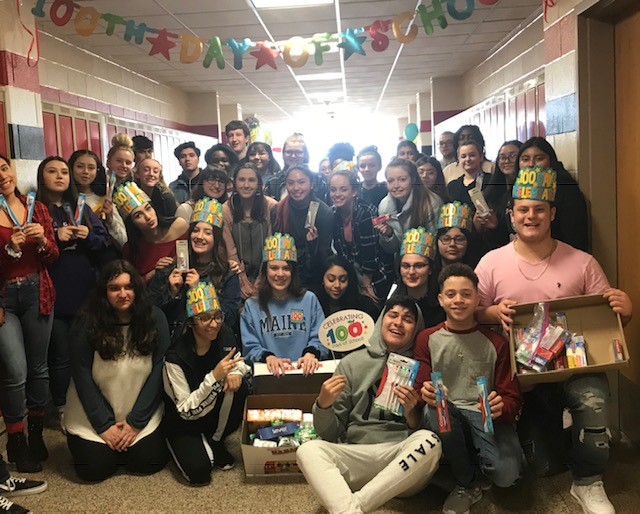 Students+from+the+280+hallway+celebrated+the+100th+day+of+school+by+donating+over+500+hygiene+products+for+the+Have+a+Heart+Drive.+