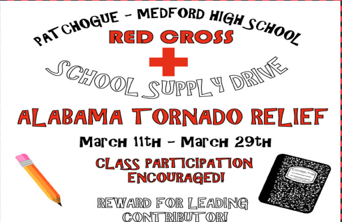 The Red Cross Club will be collecting new or lightly used school supplies, such as notebooks, backpacks, binders, etc from now until March 29th. The supplies will be donated to families in need after the devastating tornado in the South on March 3rd. Class participation is encouraged but if you would like to donate on your own, a box will be placed in the main office where you can drop off your donations.