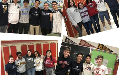 Seniors from Mrs. Sullivan's AP Literature class proudly display where they are headed.