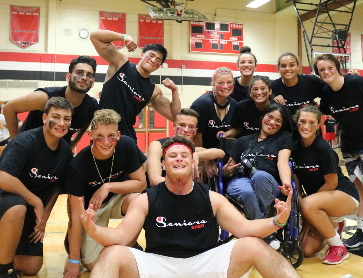 Seniors R.J., Tony, Brian, Sam, Emma, Savannah, Cat, Gabby, Karmyn, Rosie, Liam, Steven, & Luke pose together at the first major event of their Senior Year experience. They are ready for what is coming.