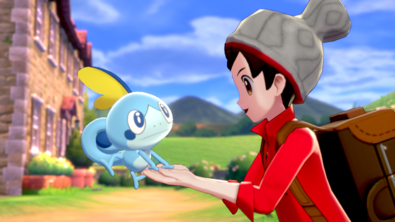 First encounter with a starter Pokémon, Sobble in the new game for the Nintendo Switch, Pokémon Shield.
