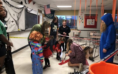 Younger students in our district dressed up, played games, and were rewarded with candy at PMHS's successful Trick or Treat Street.