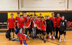 PMHS new boys volleyball team pose with their coach, Mr. Cuccinello.