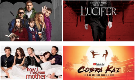 The best four shows to binge in between classes: The Umbrella Academy, Lucifer, How I Met Your Mother, and Cobra Kai.