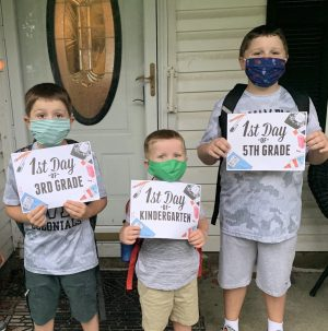 The first day of in-school learning for Colin, Killian, and Dylan Reynolds. They are required to wear masks all day like most schools so they decided to get a head start!