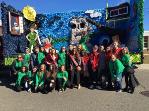The senior class is pictured here in front of their Peter Pan Homecoming float from a past parade. Will Homecoming look the same this year?