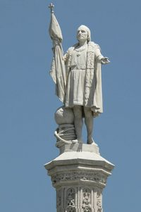 A monument of the Christopher Columbus, in a section of NYC named for the name, Columbus Circle.