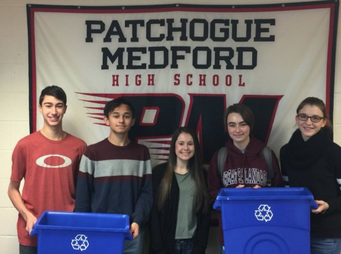 Students who are the drive behind the PMHS recycling program.