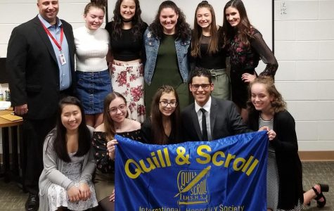 Mr. Hanley, honorary inductee, poses with fellow Quill & Scroll 2018-2019 inductees. Top row from left: Stephanie Sheridan, Delaney Reh, Pelin Bozok, Gianna Gordon, Sarah Bacon. Bottom row from left: Naomi Nyugen, Rute Rodrigues, Nicolette Savattere, Andres Rendon, and Amber Brewer. Congratulations to all!