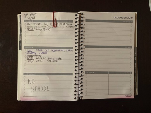 Getting an agenda is an easy way to not forget about any of your assignments!
