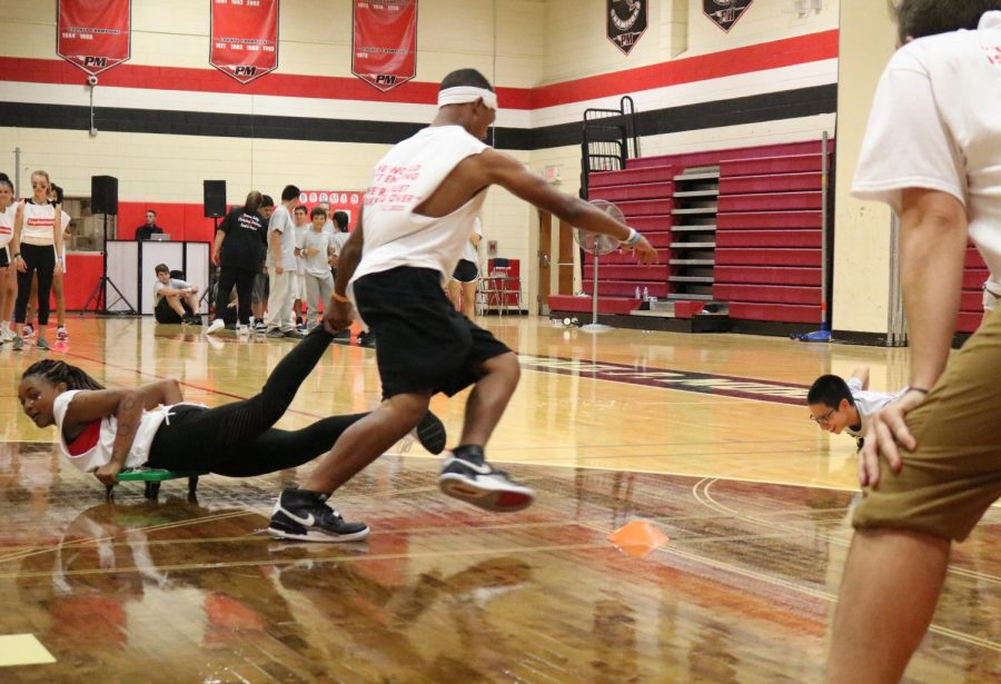 The Sophomores put up a strong fight during the scooter race at this year's competition.