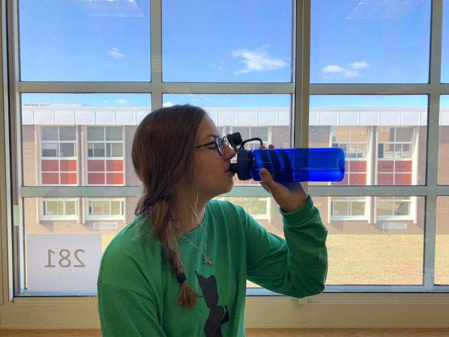 It's essential to stay hydrated throughout the day. Olivia makes sure to bring her own bottle and utilize our filtered fountain water.