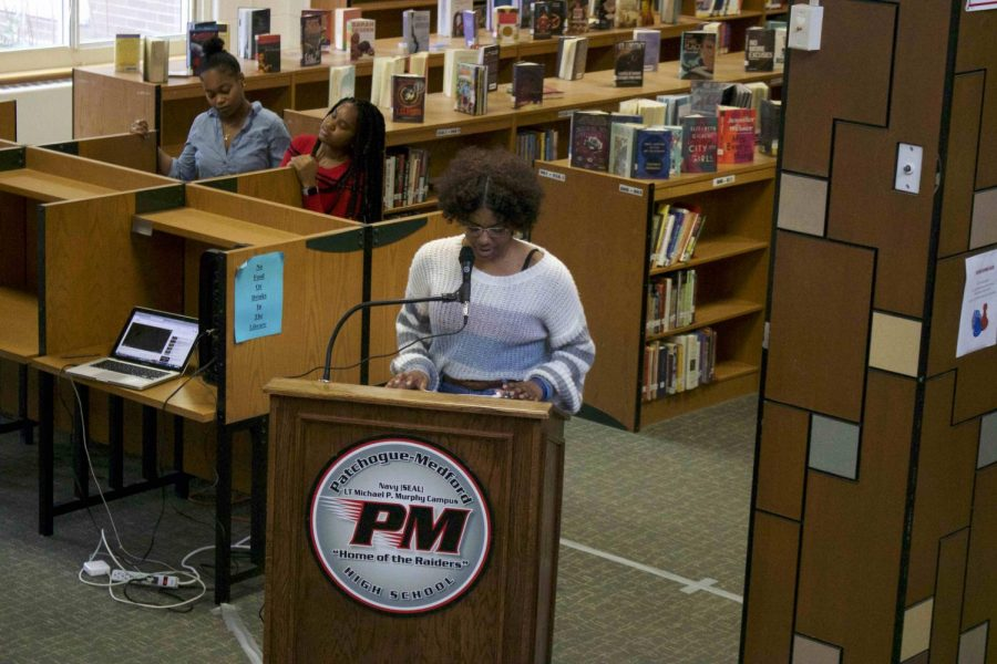 Students+gathered+in+the+library+yesterday+to+celebrate+and+elevate+the+major+contributions+to+the+humanities+by+African-American+writers+and+voices.