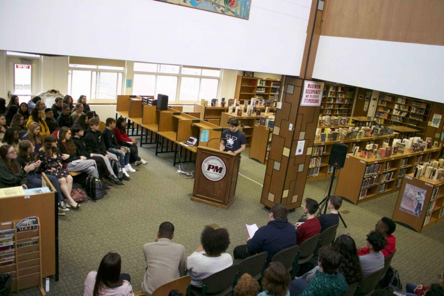 Students gathered in the library throughout the day to hear selections read by students and teachers to celebrate African-American voices.