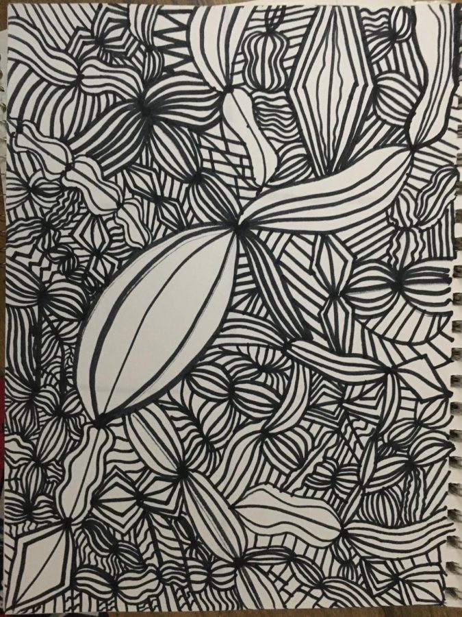 I've been working on this particular doodle for several days. Try finding a hobby that is both calming and stimulating for your mind.