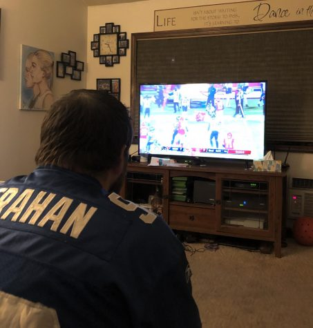 Kyle Zaharatos enjoying the first football game.