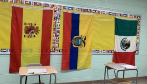 Flags were hung all around the LOTE hallways during Hispanic Heritage Month.